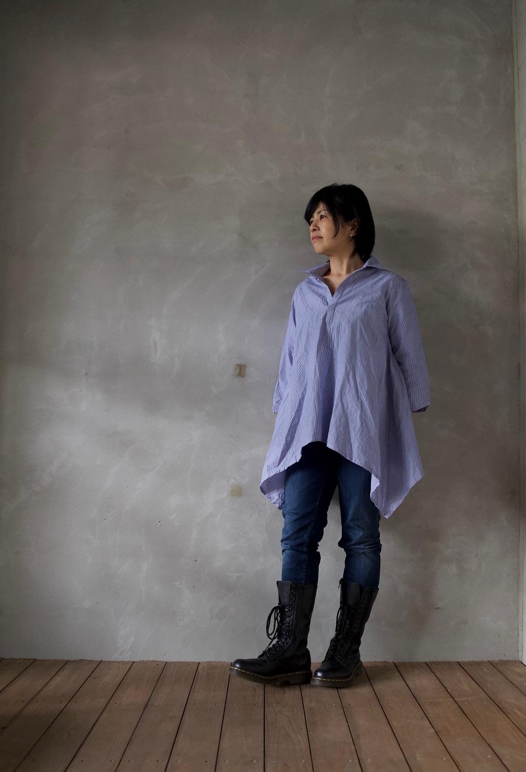 【linenu works展】大人の気になる部分を優しく包み込んですっきり。スワローシャツ。tricoter/広島福山