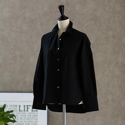 天日干しコットンタックシャツ(ブラック)