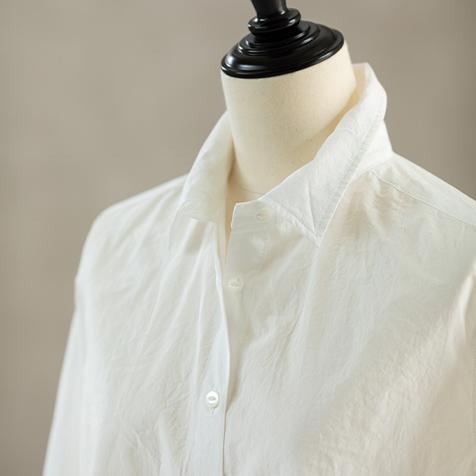 天日干しコットンタックシャツ(ホワイト)